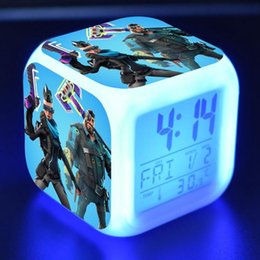 30 Styles Fortnite Battle Royale Series LED Alarm clock Fortnite Digital desk clock temperature date Electronic Action Figure Gifts