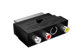 phono rca adapter 2019 - Switched Scart to Composite 3 x RCA and S-video Socket Adapter Phono AV Cable Switchable AV RCA Composite to Scart Conne