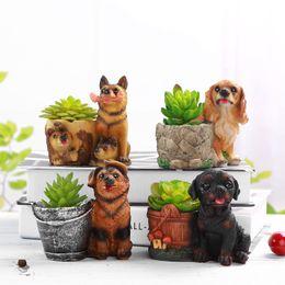 Discount balcony desktop - Creative Gift Succulent Flowerpots cute Dog Garden Decoration Arts Crafts Micro Landscape Planter for desktop balcony ga