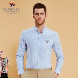 $enCountryForm.capitalKeyWord Canada - Sanfon Roland Brand 100% Cotton Striped Oxford Casual Shirt Men Long Sleeve Business Shirts Mens Clothing Regular Fit Social Shirts 179320