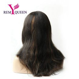 1b Straight Hair Australia - Remy Queen 1B# High Light 30# Straight Lace Front Wig With Stretch Lace Back Swiss lace 100% Human Hair 130% Medium Density