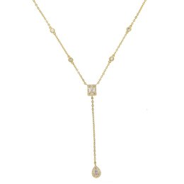 Wholesale 2018 wedding engagement long necklace for women Y lariat design square water drop charm cz station fashion collar chain jewelry