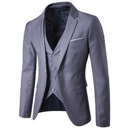 Men S Long Wedding Suit Australia - High Quality Business Suit New Men Business Slim Sets Wedding Dress Suit Blazers Coat Trousers Waistcoat Trousers S-6XL