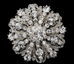 easter brooches Australia - 2018 12mm Vintage Style Rhodium Silver Tone Large Size Flower Rhinestone Diamante Crystal Brooch for Women 98