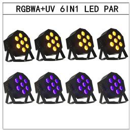 Discount sound stage equipment - 8pcs 6in1 led Par light RGBWA+UV 6in1 flat par led dmx512 disco lights professional stage dj equipment