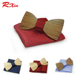 Wedding Bow Set NZ - Christmas gift Wedding Wooden Bow Ties With Hanky Set Ties For Men DIY Design Mens Pocket Square Wood tie Gravata bowties
