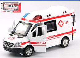 Wholesale Alloy Car Model Toy Ambulance Police Car Patrol Wagon with Light Sound Pull back Kid Birthday Party Gift Collecting Home Decoration
