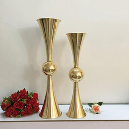 Chinese  63cm 74cm height gold metal candle holder candle stand wedding centerpiece event road lead flower vase 10 pcs  lot manufacturers
