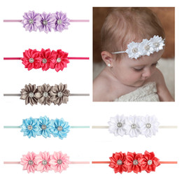 Discount crystal flowers photography - baby hairband multi flower crystal hair band infant frabic headwear children party hair accessory bebe photography decor