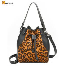 leopard fashion designer lady handbag 2019 - Black Luxury Leopard Drawstring Bucket Bag Women PU Leather Handbag Shoulder Bags Brand Designer Ladies Crossbody Messen