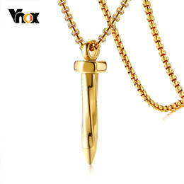 "$enCountryForm.capitalKeyWord UK - wholesale Punk Nail Pendant For Men Necklace Gold Color Stainless Steel Stylish Male Hardware Jewel 24"" Box Chain"