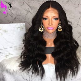 $enCountryForm.capitalKeyWord NZ - Natural Hairline Glueless Heat Resistant Fiber Hair Wigs For Black Women Long body Wavy black  brown  burgundy Synthetic Lace Front Wig