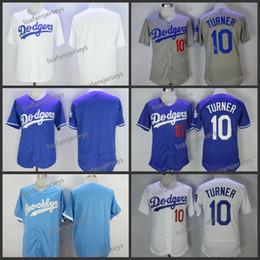 256a9466749 Hombres 10 Justin Turner blanco 2018 camisetas de béisbol Home Away Road  bordado blanco azul gris barato cosido jersey de béisbol