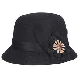 b024e38570cd54 Hot Fashion Bohemia Cap Women's Elegant Brim Summer Beach Flower Bowler Sun Hat  Billycock Black