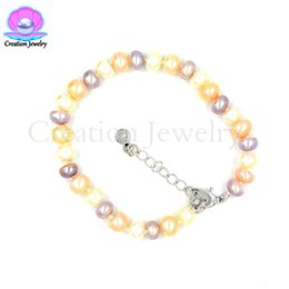 fashion bracelet freshwater pearls UK - 8 Inches Fashion Freshwater Pearls Bracelet Birthday Wedding Party Women Kids Girlfriend Gifts Adjustable Extenable Hand Chain
