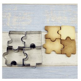 Baking Shape Cutter Australia - 4pcs set Puzzle Shape Cookie Mold DIY Baking Biscuit Mold Stainless Steel Cookie Cutter Dessert Bakeware Cake Mold Kitchen Tool