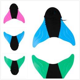 Black Swimming Toys UK - Adjustable Mermaid Swim Fin Diving Monofin Swimming Foot Flipper Mono Fin Fish Tail Swim Training For Kid Children Christmas Gifts Black