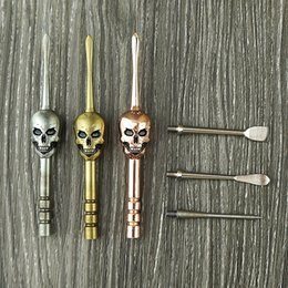 Wax Tool For Dry Herb Australia - Skull design wax dabber tools 6color 120mm changeable disassembled dab jar tool metal titanium nail for dry herb vaporizer atomizer vape
