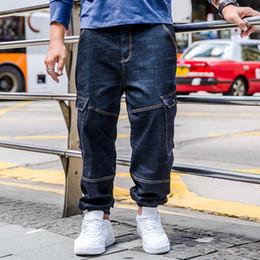 e11f77001e3 Mens Jeans Plus Size 30-40 42 44 46 Denim Cargo Pants Men s Straight Jean  Pants Loose Fit Jeans Trousers With Multi Big Pockets