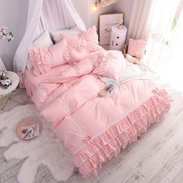 Pink Ruffles Lace Bedding Sets NZ - Cotton Pink Princess Bedding Set Lace Edge Bed Ruffle Sweetly Bowknot Bed Skirt Heart Cushion Bedspread with Skirt 3 4 5 6pcs