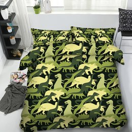 $enCountryForm.capitalKeyWord Canada - Cool Green Dinosaurs 3D Printed Bedding Set Twin Full Queen King Size Bedspread Bedclothes Duvet Covers Pillow Shams Home Textiles Animal