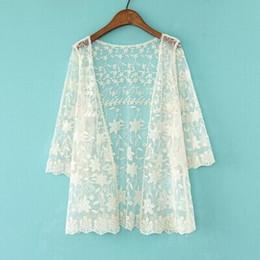 Discount lace cape crochet - Women Summer Lace Cape Embroidery Hollow Jacket Cardigan Manteau Femme Mori Girl Lolita Clothing Tunic Donna Crochet Jac