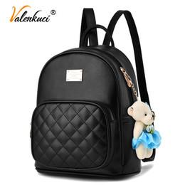 Valenkuci fashion 2017 women backpacks fashion leather lady black backpack  high quality girls travel school bag BD-199 4c69122fae