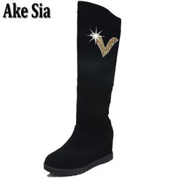 6c32c2a6a8b Ake Sia Faddish Women Fashion Winter Slip On Paillette Rhinestone Adorn  Botas High Bottine Jackboots Hidden Heel Shoes Boot F307