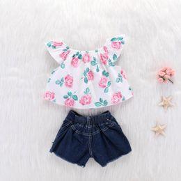 denims shirts for girls 2019 - 018 New Summer Casual Children Sets Flowers O-neck sweet T-shirt+ Denim Shorts Girls Clothing Sets Kids Suit For Girls O