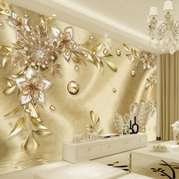 golden living room decor Canada - European Style Luxury Golden 3D Flower Jewelry Damascus Pattern Background Decoration Mural Wallpaper For Living Room Home Decor