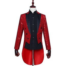 Chinese  Mens Tails Slim Fit Tailcoat Sequin Dress Coat Swallowtail Dinner Party Wedding Groom Blazer Fashion Colorful Sequins Suit Jacket manufacturers