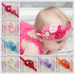 Roses For Hair Australia - Baby Girls headbands Rose Flower Bows Rhinestones Infant Kids Hair Accessories Head bands for Wedding party