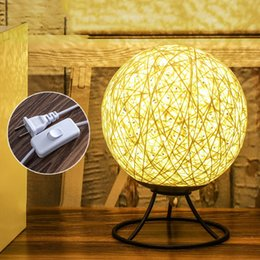 $enCountryForm.capitalKeyWord Canada - Christmas twine rattan ball LED night light creative modern pastoral weaving bedside table lamp bedroom bedside lamp decoration gift