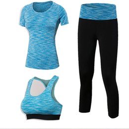 43decd0311d Quick Dry Yoga Set 3 PCS Workout Tight Sexy Top Sport Suit Gym Running Shirt  legging Pants Sport Bra Women s tracksuit
