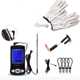 electric cock toys Australia - New electric shock medicine theme gloves massage male sex toy bag male penis stimulation Cock Glans ring beaded penis plug