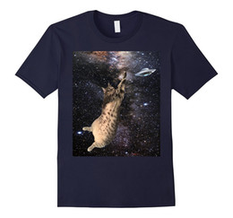 Fly Tees Canada - Flying Fat Cat In Space T-shirt Tee Planets UFO Tabby Orbits