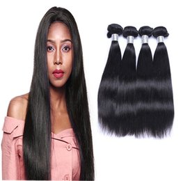 human hair weave straight 4pcs NZ - Hot Selling Brazilian Straight Hair Weave Unprocessed Human Hair Extensions 8-30inch Natural Black Color Dyeable 4pcs lot Free Shipping