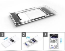 Usb Hdd Case Australia - USB 3.0 SATA Box HDD SSD Hard Disk Drive External HDD Enclosure Transparent Case Tool Free 5 Gbps Support 2TB UASP Protocol