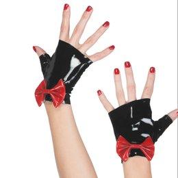 $enCountryForm.capitalKeyWord Australia - 2018 Sexy cute Hot New Gothic Sexy Women short Gloves Bow-knot Adult Fetish Wrist Cekc No Fingers Female Zentai Customized size