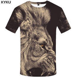 Wholesale Mens Shirts Clothing Canada - KYKU Lion T shirt Animal Plus Size Design Clothes T-shirt Tshirt Clothing Men Mens Hip hop High Quality Homme