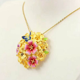 $enCountryForm.capitalKeyWord NZ - Flower Pattern Pendant Necklace 18k Yellow Gold Filled Beautiful Womens Pendant Chain Gift Fashion Jewelry Accessories