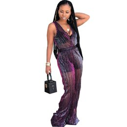 8c28876d82 Echoine Sexy Mesh Perspective Jumpsuit Deep V Rompers 2018 Women Bodysuit  Fashion Casual Wide-leg Jumpuits Sleeveless Overalls