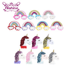 Felt Hair Accessories For Girls NZ - Nishine 120pcs lot New Felt Unicorn Horns Rainbow Diy Accessories For Girls Hair Clips Headband Headwear Birthday Party Supplies