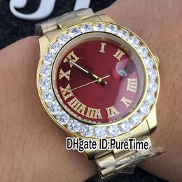 China New Rose Gold Big Diamond Bezel 43mm Red Dial Diamond Roma Mark A2813 Automatic Mens Watch Sports Watches Rollie Cheap Puretime R207b2 cheap cheap diamond bezel watches suppliers
