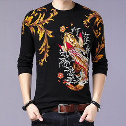 $enCountryForm.capitalKeyWord NZ - Autumn Spring Mens Thin Sweater Carp Fish Floral Print Pullover Jumpers Men's Knitted Cotton Eagle Pattern Tops Shirt Sweater