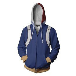Discount cosplay heroes - Anime My Hero Academia Todoroki Shoto Hoodie Sweatshirts Cosplay Jacket Coat School College Style Tops Outerwear 3D Hood
