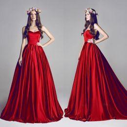 $enCountryForm.capitalKeyWord Australia - Charming Red Satin Prom Dresses Classic A-line Sweetheart Sweep Train Party Dress Cheap Sleeveless Evening Dress Custom Made Celebrity Gowns