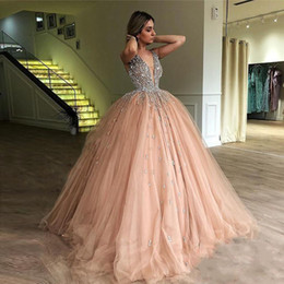 fd70561b81 Ball Gown Quinceanera Dresses Crystal Beaded Tulle Floor Length Blush Pink  Sparkle Prom Dresses Sweet 16 Dresses Zipper Up