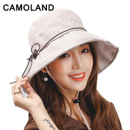 $enCountryForm.capitalKeyWord NZ - Cotton Women Bucket Hats Solid Panama Summer Fishing Hat Female Caps Large Wide Brim UV Protection Sun Hat Pink Gray Beige Khaki