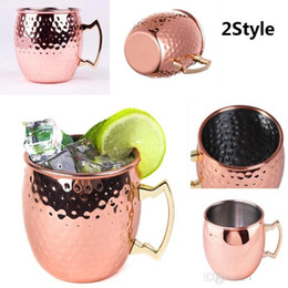 $enCountryForm.capitalKeyWord NZ - Moscow Mule Cup Hammered Copper plated Stainless Steel Moscow Mule Mug Drum-Type Beer Cup Coffe Cup Water Glass Drinkware c053